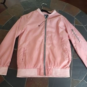 Boohoo men's pink bomber jacket